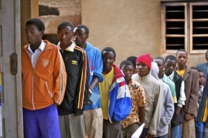Clients line up in Iringa, Tanzania to receive circumcision services