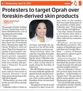 Oprah protesters in Ottawa