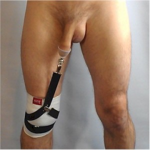 TLC Tugger strapped to knee