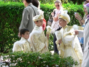 Turkish boys in circumcision attire