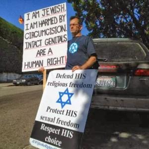 jewish man protesting against circumcision
